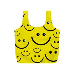 Digitally Created Yellow Happy Smile  Face Wallpaper Full Print Recycle Bags (S)