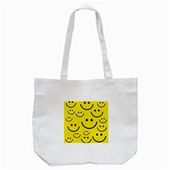 Digitally Created Yellow Happy Smile  Face Wallpaper Tote Bag (White)