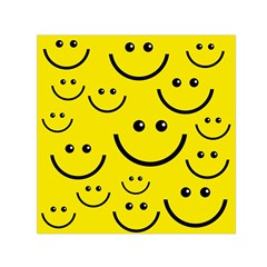 Digitally Created Yellow Happy Smile  Face Wallpaper Small Satin Scarf (Square)