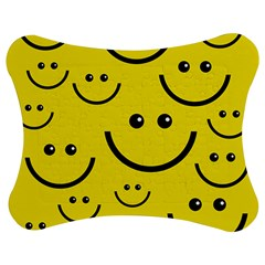 Digitally Created Yellow Happy Smile  Face Wallpaper Jigsaw Puzzle Photo Stand (Bow)