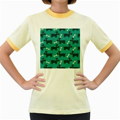 Happy Dogs Animals Pattern Women s Fitted Ringer T-Shirts