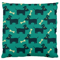 Happy Dogs Animals Pattern Large Flano Cushion Case (Two Sides)