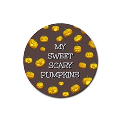 Hallowen My Sweet Scary Pumkins Rubber Round Coaster (4 pack)