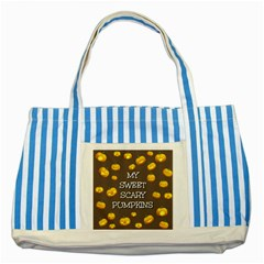 Hallowen My Sweet Scary Pumkins Striped Blue Tote Bag