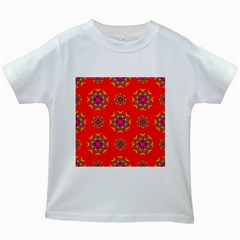 Rainbow Colors Geometric Circles Seamless Pattern On Red Background Kids White T-Shirts