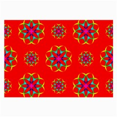 Rainbow Colors Geometric Circles Seamless Pattern On Red Background Large Glasses Cloth