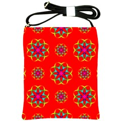 Rainbow Colors Geometric Circles Seamless Pattern On Red Background Shoulder Sling Bags