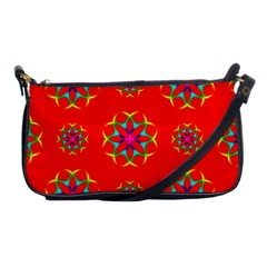 Rainbow Colors Geometric Circles Seamless Pattern On Red Background Shoulder Clutch Bags