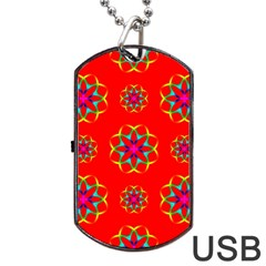 Rainbow Colors Geometric Circles Seamless Pattern On Red Background Dog Tag USB Flash (One Side)