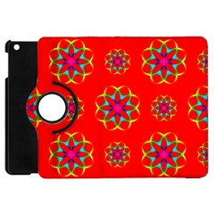 Rainbow Colors Geometric Circles Seamless Pattern On Red Background Apple iPad Mini Flip 360 Case