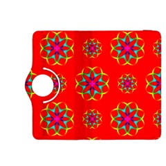 Rainbow Colors Geometric Circles Seamless Pattern On Red Background Kindle Fire HDX 8.9  Flip 360 Case
