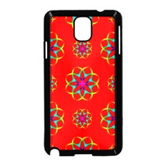 Rainbow Colors Geometric Circles Seamless Pattern On Red Background Samsung Galaxy Note 3 Neo Hardshell Case (Black)