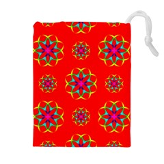 Rainbow Colors Geometric Circles Seamless Pattern On Red Background Drawstring Pouches (Extra Large)
