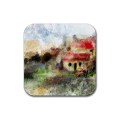 Old Spanish Village Rubber Square Coaster (4 Pack)