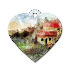 Old Spanish Village Dog Tag Heart (One Side)