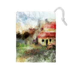 Old Spanish Village Drawstring Pouches (large)