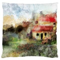 Old Spanish Village Large Flano Cushion Case (one Side)