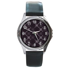 Abstract Seamless Pattern Background Round Metal Watch