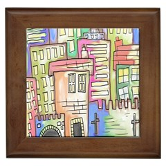 A Village Drawn In A Doodle Style Framed Tiles