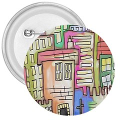 A Village Drawn In A Doodle Style 3  Buttons