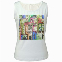 A Village Drawn In A Doodle Style Women s White Tank Top