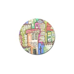 A Village Drawn In A Doodle Style Golf Ball Marker (4 pack)