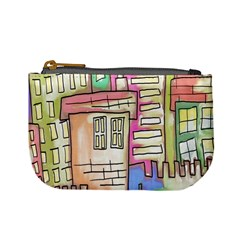 A Village Drawn In A Doodle Style Mini Coin Purses