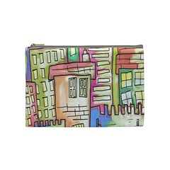 A Village Drawn In A Doodle Style Cosmetic Bag (Medium)