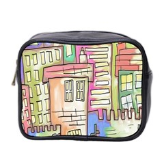 A Village Drawn In A Doodle Style Mini Toiletries Bag 2-Side