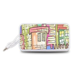 A Village Drawn In A Doodle Style Portable Speaker (White)