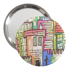 A Village Drawn In A Doodle Style 3  Handbag Mirrors