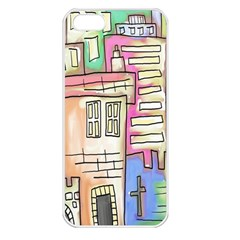 A Village Drawn In A Doodle Style Apple iPhone 5 Seamless Case (White)