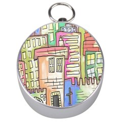 A Village Drawn In A Doodle Style Silver Compasses