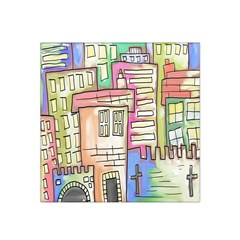 A Village Drawn In A Doodle Style Satin Bandana Scarf