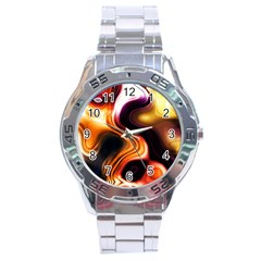 Colourful Abstract Background Design Stainless Steel Analogue Watch