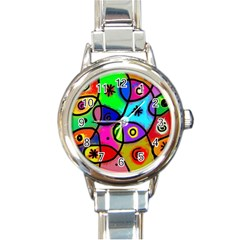 Digitally Painted Colourful Abstract Whimsical Shape Pattern Round Italian Charm Watch