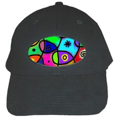 Digitally Painted Colourful Abstract Whimsical Shape Pattern Black Cap