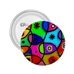 Digitally Painted Colourful Abstract Whimsical Shape Pattern 2.25  Buttons