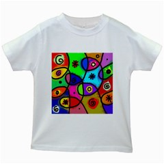 Digitally Painted Colourful Abstract Whimsical Shape Pattern Kids White T-Shirts