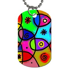 Digitally Painted Colourful Abstract Whimsical Shape Pattern Dog Tag (Two Sides)