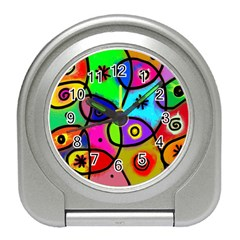Digitally Painted Colourful Abstract Whimsical Shape Pattern Travel Alarm Clocks