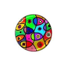 Digitally Painted Colourful Abstract Whimsical Shape Pattern Hat Clip Ball Marker (10 pack)