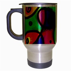 Digitally Painted Colourful Abstract Whimsical Shape Pattern Travel Mug (Silver Gray)
