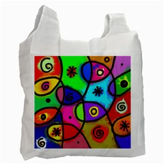 Digitally Painted Colourful Abstract Whimsical Shape Pattern Recycle Bag (Two Side)