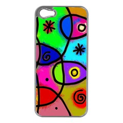 Digitally Painted Colourful Abstract Whimsical Shape Pattern Apple iPhone 5 Case (Silver)
