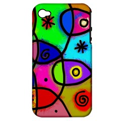 Digitally Painted Colourful Abstract Whimsical Shape Pattern Apple iPhone 4/4S Hardshell Case (PC+Silicone)