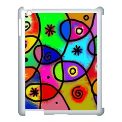 Digitally Painted Colourful Abstract Whimsical Shape Pattern Apple iPad 3/4 Case (White)