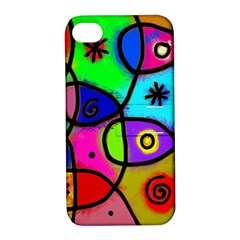 Digitally Painted Colourful Abstract Whimsical Shape Pattern Apple iPhone 4/4S Hardshell Case with Stand