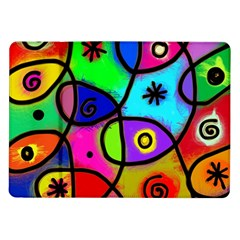 Digitally Painted Colourful Abstract Whimsical Shape Pattern Samsung Galaxy Tab 10.1  P7500 Flip Case