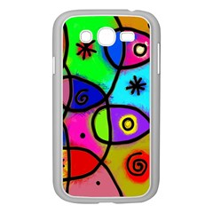 Digitally Painted Colourful Abstract Whimsical Shape Pattern Samsung Galaxy Grand DUOS I9082 Case (White)